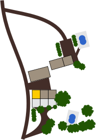 """Localisation du gîte Gîte """"Le Tillou"""" avec piscine commune sur le domaine"""